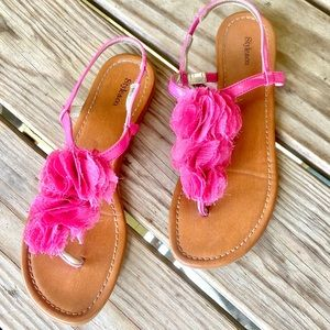 Style & Co Pink Ruffle Flower Sandals
